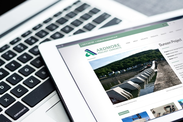 Ardmore Precast website displayed on iPad landscape