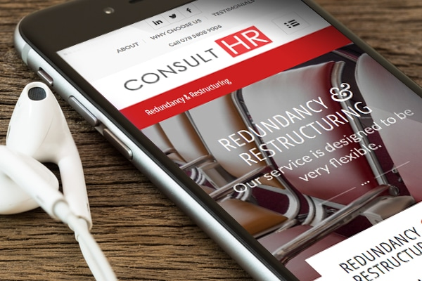 Consult HR website displayed on iPhone